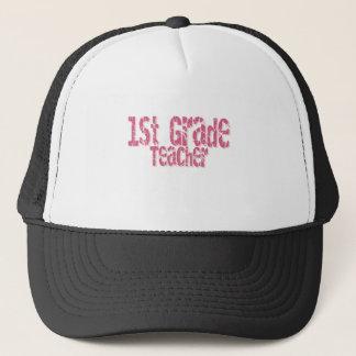 Pink Distressed Text 1st Grade Teacher Trucker Hat