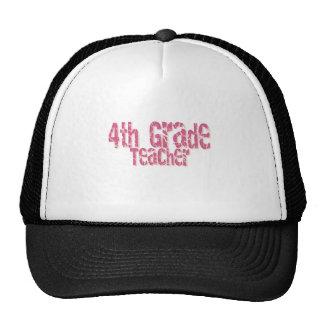 Pink Distressed Text 4th Grade Teacher Hat