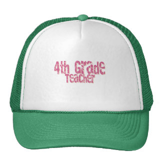 Pink Distressed Text 4th Grade Teacher Mesh Hat