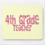 Pink Distressed Text 4th Grade Teacher Mousepad