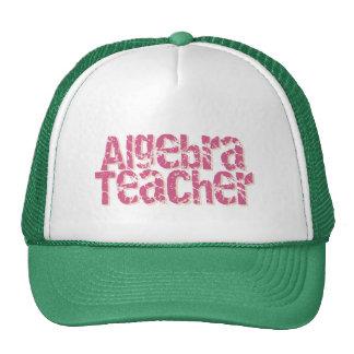 Pink Distressed Text Algebra Teacher Mesh Hats