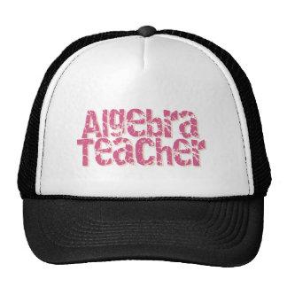 Pink Distressed Text Algebra Teacher Trucker Hats