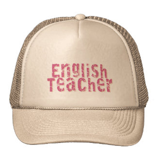 Pink Distressed Text English Teacher Mesh Hat