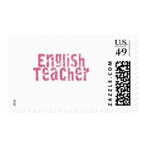 Pink Distressed Text English Teacher Postage
