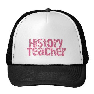 Pink Distressed Text History Teacher Hat