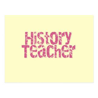 Pink Distressed Text History Teacher Postcard