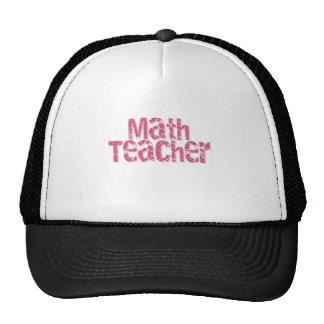 Pink Distressed Text Math Teacher Trucker Hat
