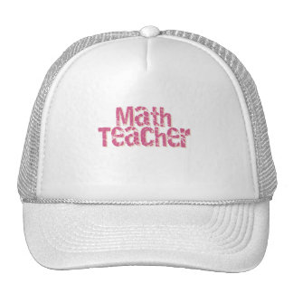 Pink Distressed Text Math Teacher Mesh Hat