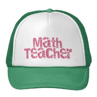 Pink Distressed Text Math Teacher Hat