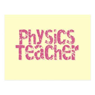Pink Distressed Text Physics Teacher Postcard