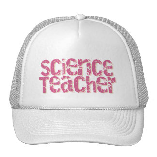 Pink Distressed Text Science Teacher Hat