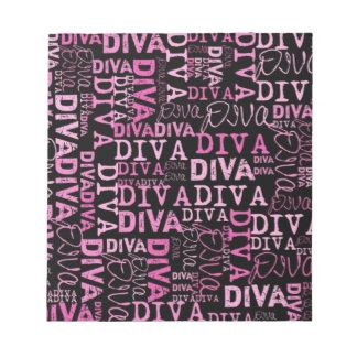 Pink, diva, black text memo pads