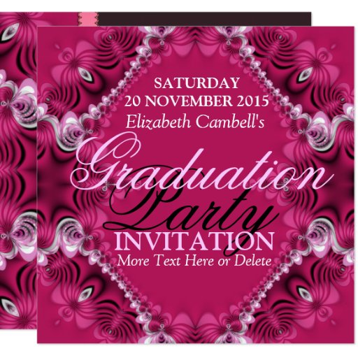 Pink Diva Fractal Lace Graduation Party Invitation