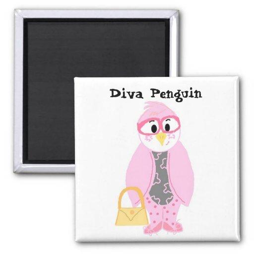 Pink  Diva Penguin 2 Inch Square Magnet