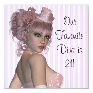 "Pink Diva Womans 21st Birthday Party 5.25"" Square Invitation Card"