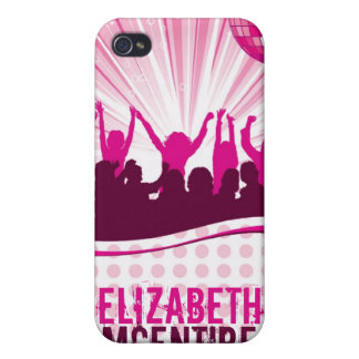 Pink DJ Spin Party Personalized iPhone 4 Case
