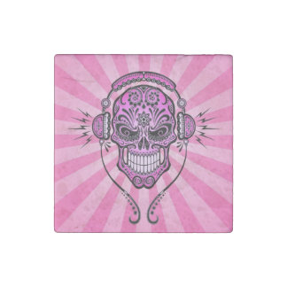 Pink DJ Sugar Skull with Rays of Light Stone Magnet