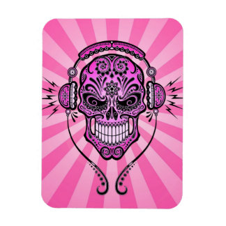 Pink DJ Sugar Skull with Rays of Light Flexible Magnets