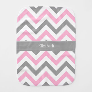Pink Dk Gray White LG Chevron Gray Name Monogram Baby Burp Cloth