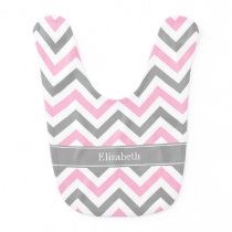 Pink Dk Gray White LG Chevron Gray Name Monogram Bib