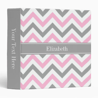 Pink Dk Gray White LG Chevron Gray Name Monogram Binder