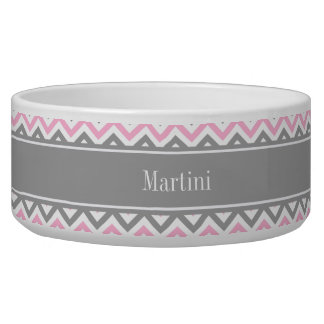 Pink Dk Gray White LG Chevron Gray Name Monogram Bowl