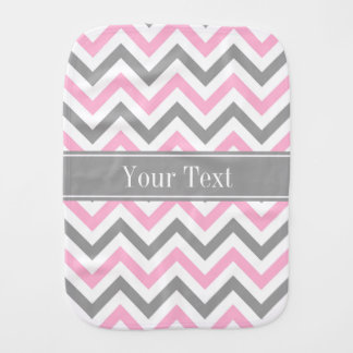 Pink Dk Gray White LG Chevron Gray Name Monogram Burp Cloth