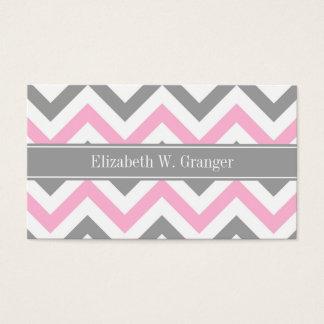 Pink Dk Gray White LG Chevron Gray Name Monogram Business Card