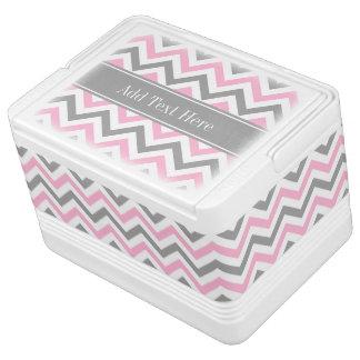 Pink Dk Gray White LG Chevron Gray Name Monogram Cooler