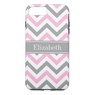 Pink Dk Gray White LG Chevron Gray Name Monogram iPhone 7 Plus Case