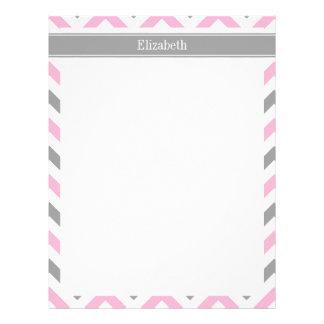 Pink Dk Gray White LG Chevron Gray Name Monogram Letterhead