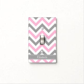 Pink Dk Gray White LG Chevron Gray Name Monogram Light Switch Cover