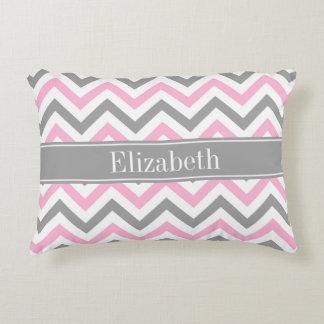 Pink Dk Gray White LG Chevron Gray Name Monogram Accent Pillow