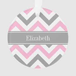 Pink Dk Gray White LG Chevron Gray Name Monogram Ornament