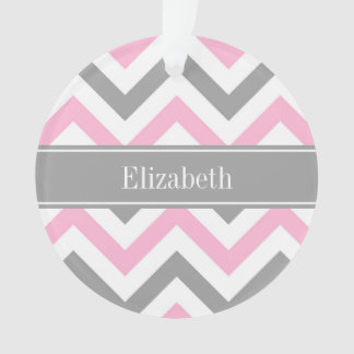 Pink Dk Gray White LG Chevron Gray Name Monogram Ornament