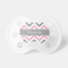 Pink Dk Gray White Lg Chevron Gray Name Monogram Pacifier at Zazzle