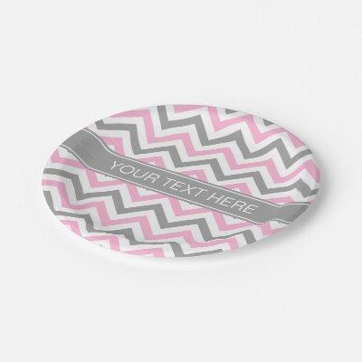Monogram Grey Chevron with Pastel Pink Polka Dot Paper Plate | Zazzle.com  sc 1 st  Zazzle & Monogram Grey Chevron with Pastel Pink Polka Dot Paper Plate ...