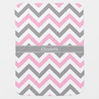 Pink Dk Gray White LG Chevron Gray Name Monogram Receiving Blanket