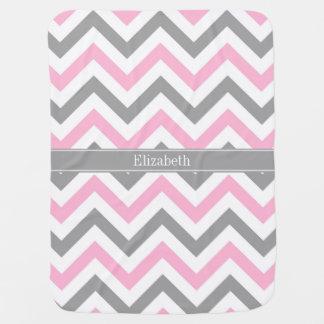 Pink Dk Gray White LG Chevron Gray Name Monogram Receiving Blanket