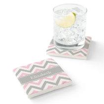 Pink Dk Gray White LG Chevron Gray Name Monogram Stone Coaster