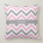 Pink Dk Gray White LG Chevron Gray Name Monogram Throw Pillow