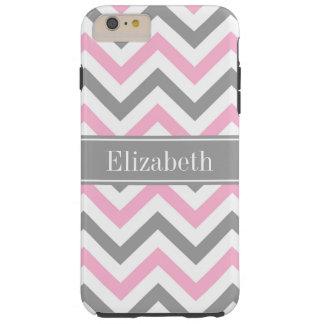 Pink Dk Gray White LG Chevron Gray Name Monogram Tough iPhone 6 Plus Case