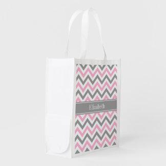Pink Dk Gray White LG Chevron Gray Name Monogram Reusable Grocery Bags