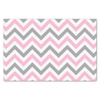 "Pink, Dk Gray Wht Large Chevron ZigZag Pattern 10"" X 15"" Tissue Paper"