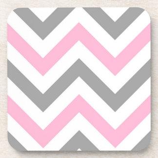 Pink, Dk Gray Wht Large Chevron ZigZag Pattern Drink Coaster