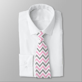 Pink, Dk Gray Wht Large Chevron ZigZag Pattern Neck Tie