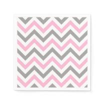 Pink, Dk Gray Wht Large Chevron ZigZag Pattern Paper Napkin