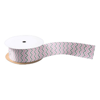 Pink, Dk Gray Wht Large Chevron ZigZag Pattern Satin Ribbon