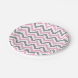 Pink, Dk Gray Wht Large Chevron ZigZag Pattern 7 Inch Paper Plate