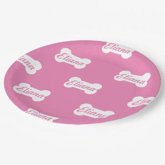Pink Dog Bone Custom Text Paper Plate